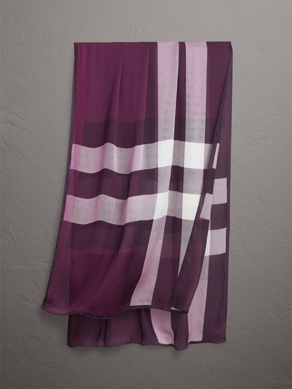 Lightweight Check Silk Scarf in Aubergine