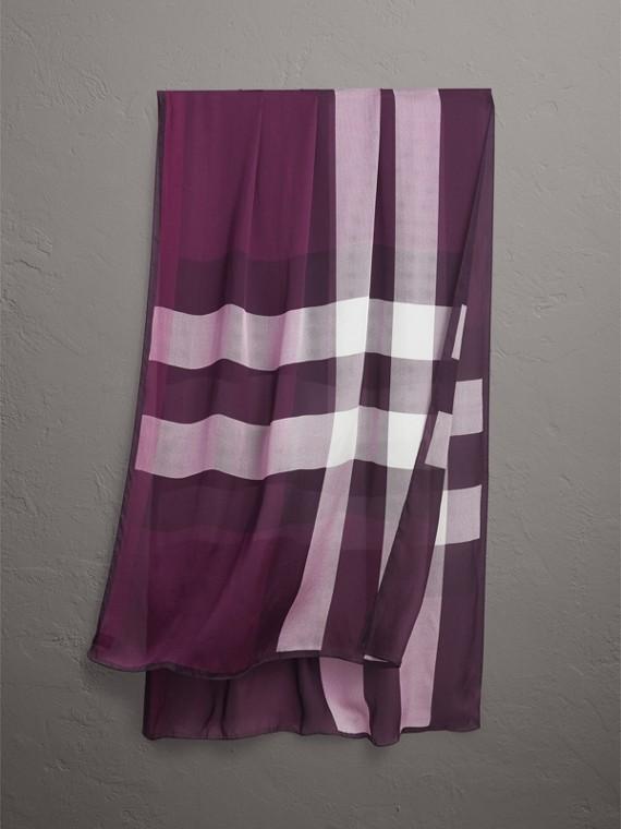 輕盈格紋絲綢圍巾 (茄色)