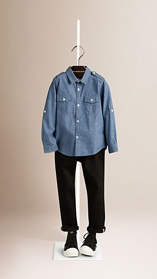 Cotton Chambray Military Shirt