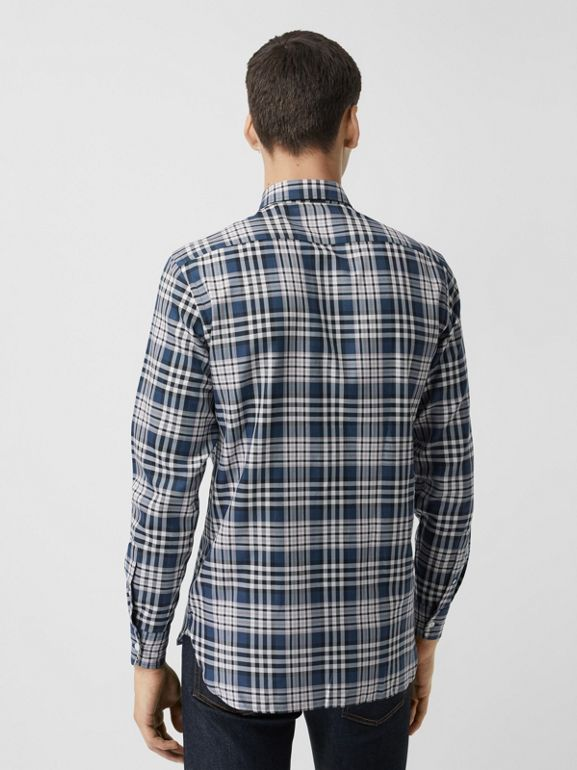Check Cotton Shirt in Pewter Blue - Men | Burberry Singapore - cell image 1
