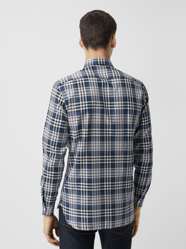 Check Cotton Shirt in Pewter Blue - Men | Burberry United States - cell image 2