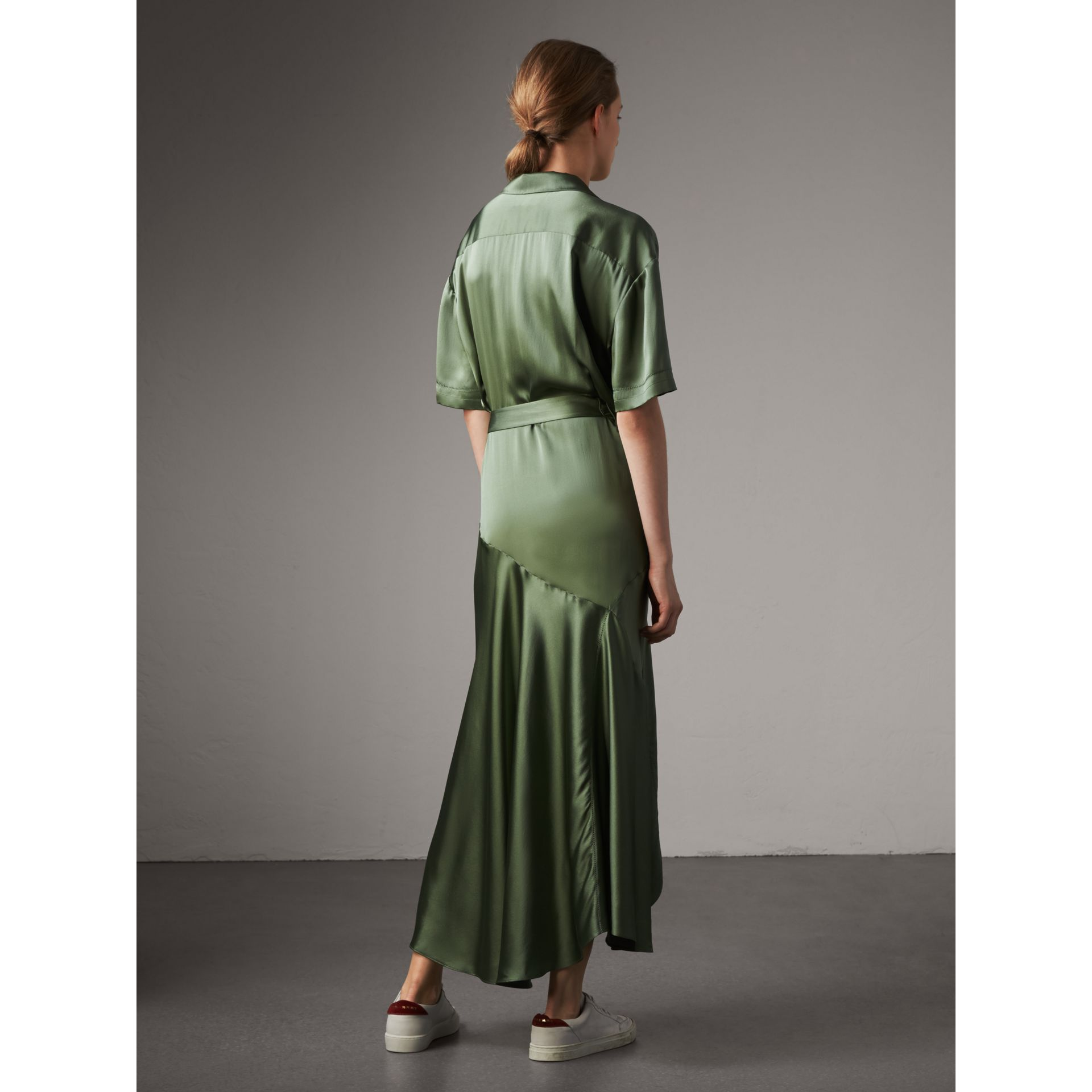 Washed Silk Satin Tie-waist Shirt Dress in Forest Green - Women | Burberry - gallery image 3