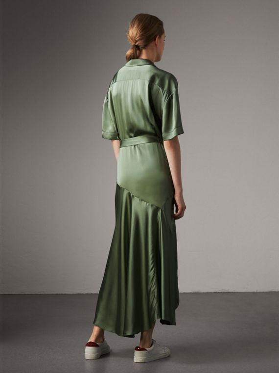 Washed Silk Satin Tie-waist Shirt Dress in Forest Green - Women | Burberry - cell image 2
