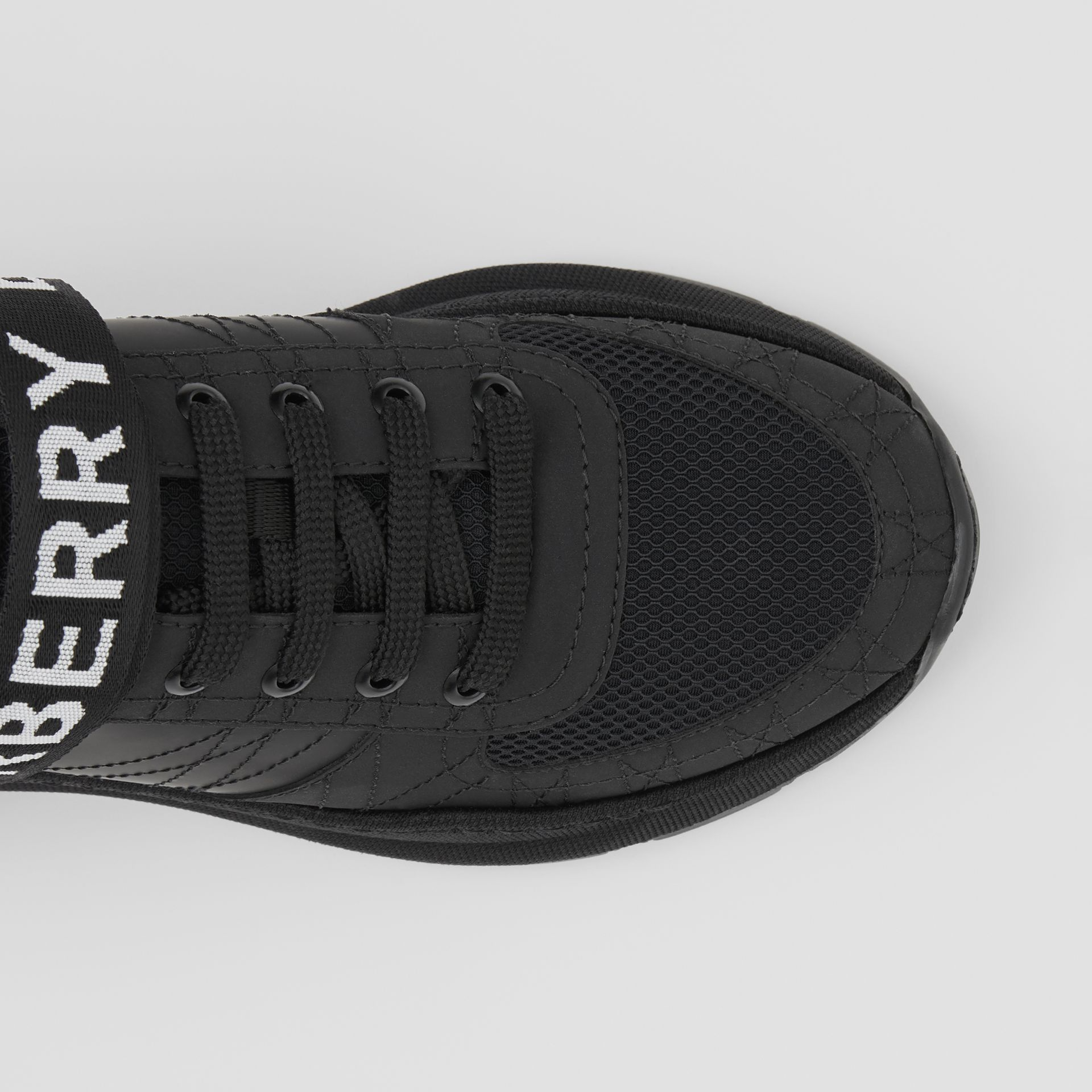 Logo Detail Leather, Nubuck and Mesh Sneakers in Black - Women | Burberry United Kingdom - gallery image 1