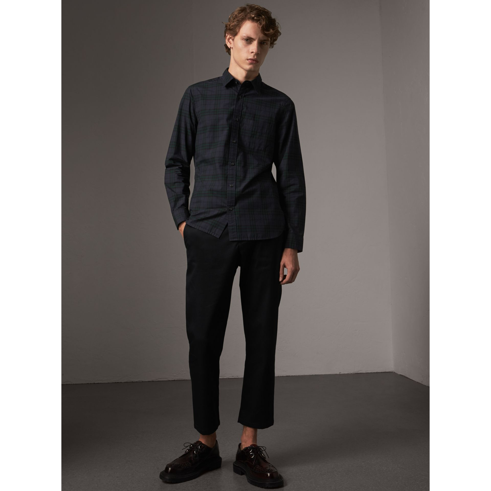 Check Cotton Shirt in Ink Blue - Men | Burberry United States - gallery image 1