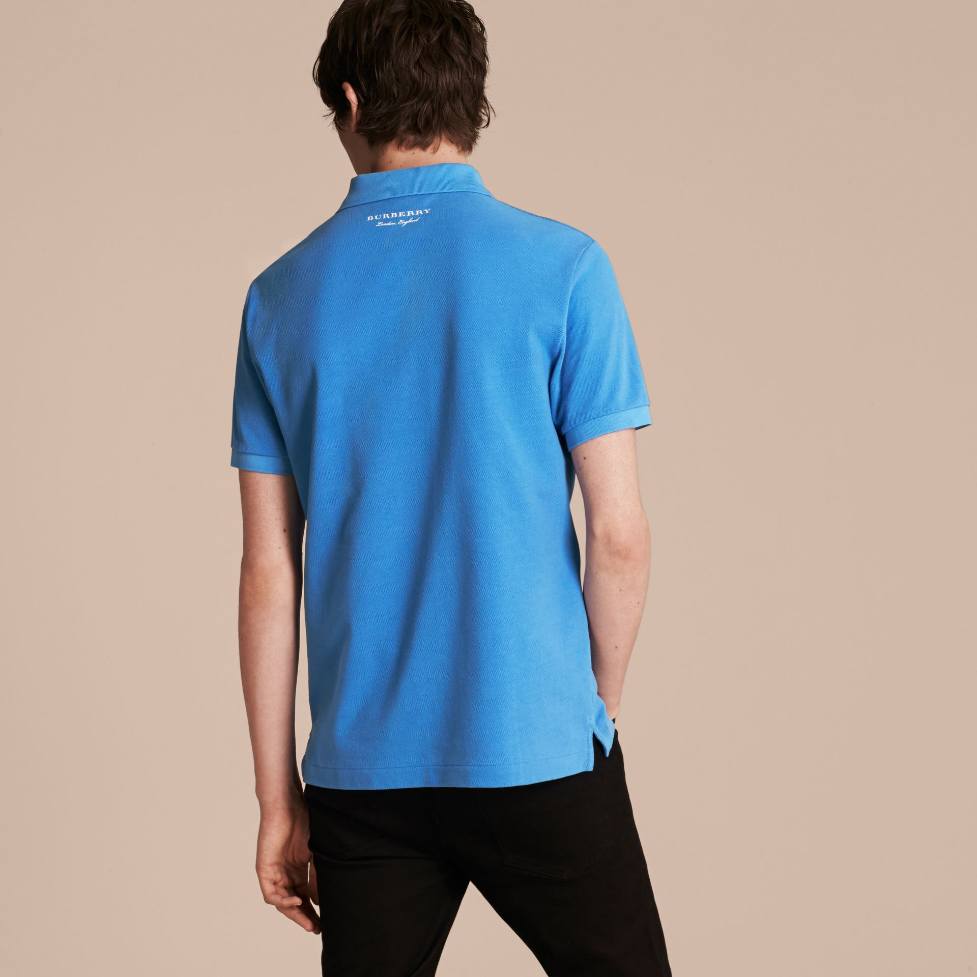 Weather Appliqué Cotton Piqué Polo Shirt Chalk Blue - gallery image 3