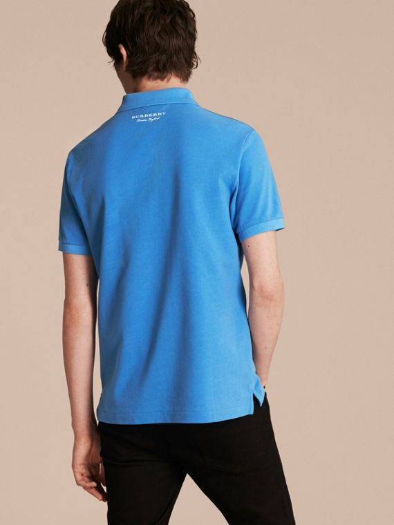 Chalk blue Weather Appliqué Cotton Piqué Polo Shirt - cell image 2