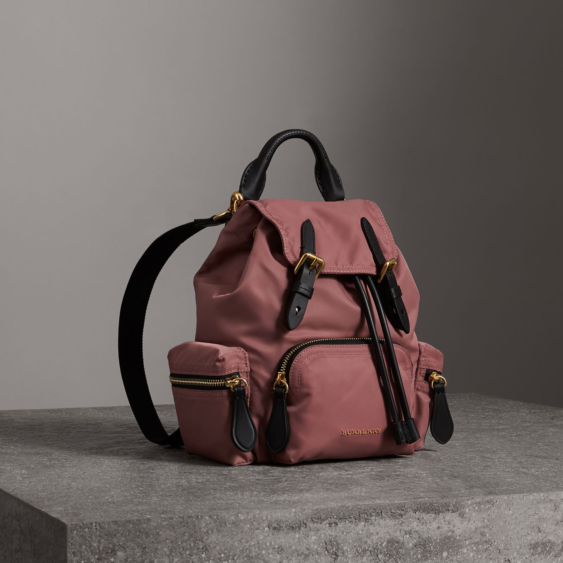 The Crossbody Rucksack in Nylon and Leather in Mauve Pink - Women | Burberry - gallery image 0