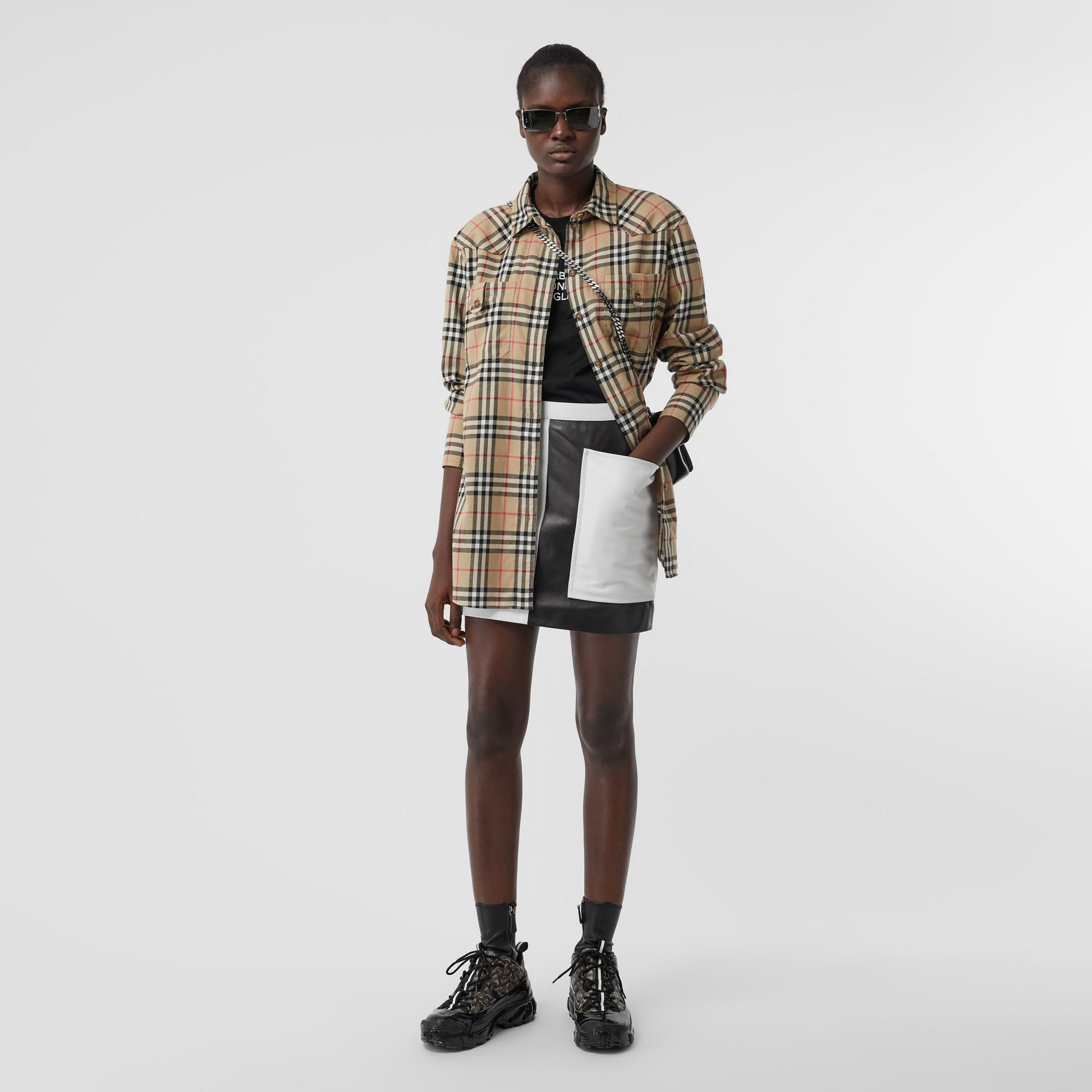 Vintage Check Cotton Flannel Oversized Shirt in Archive Beige - Women | Burberry - gallery image 0