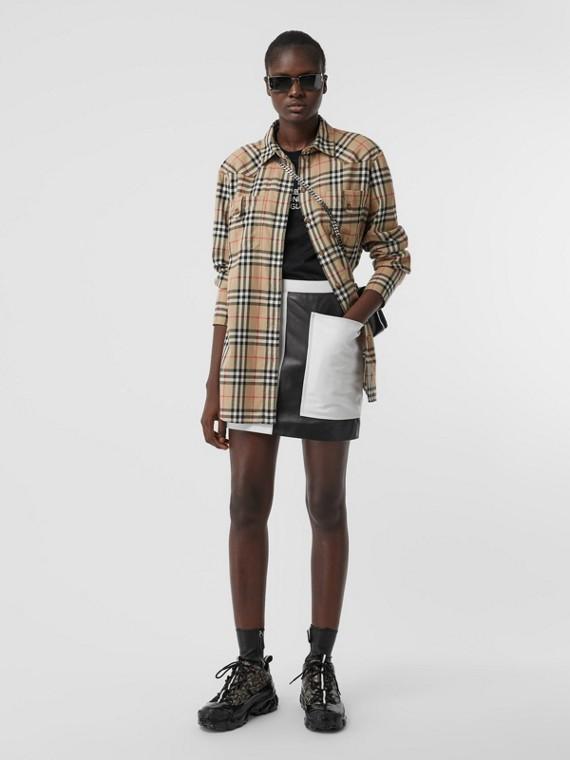 Oversize-Bluse aus Baumwollflanell mit Vintage Check-Muster (Vintage-beige)