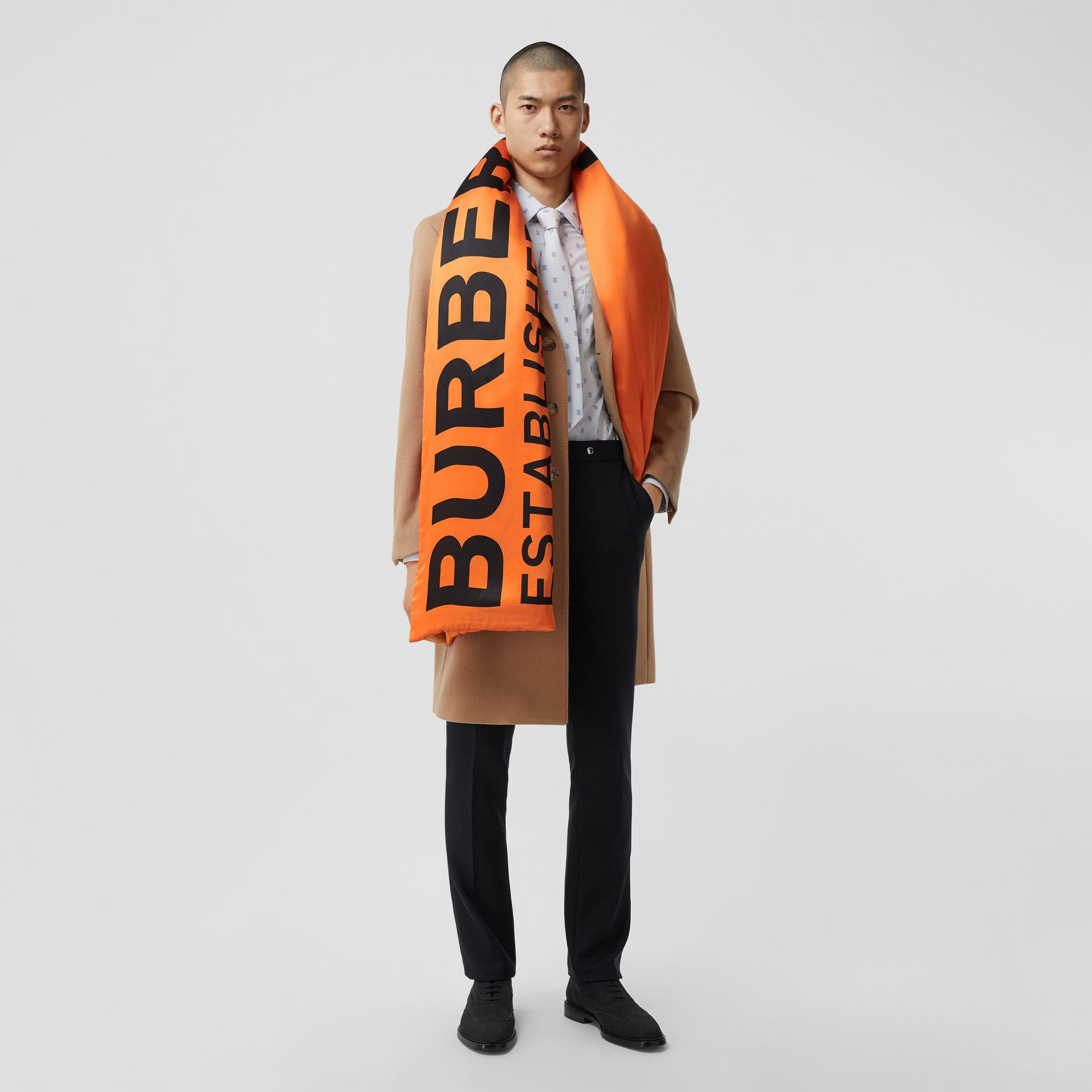 Horseferry Print Silk Puffer Scarf in Orange/black | Burberry - gallery image 5