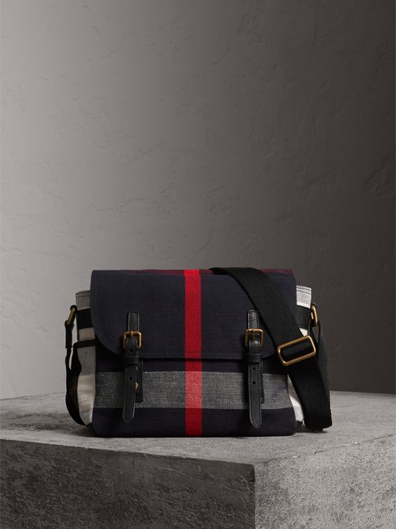 Small Canvas Check Messenger Bag in Black
