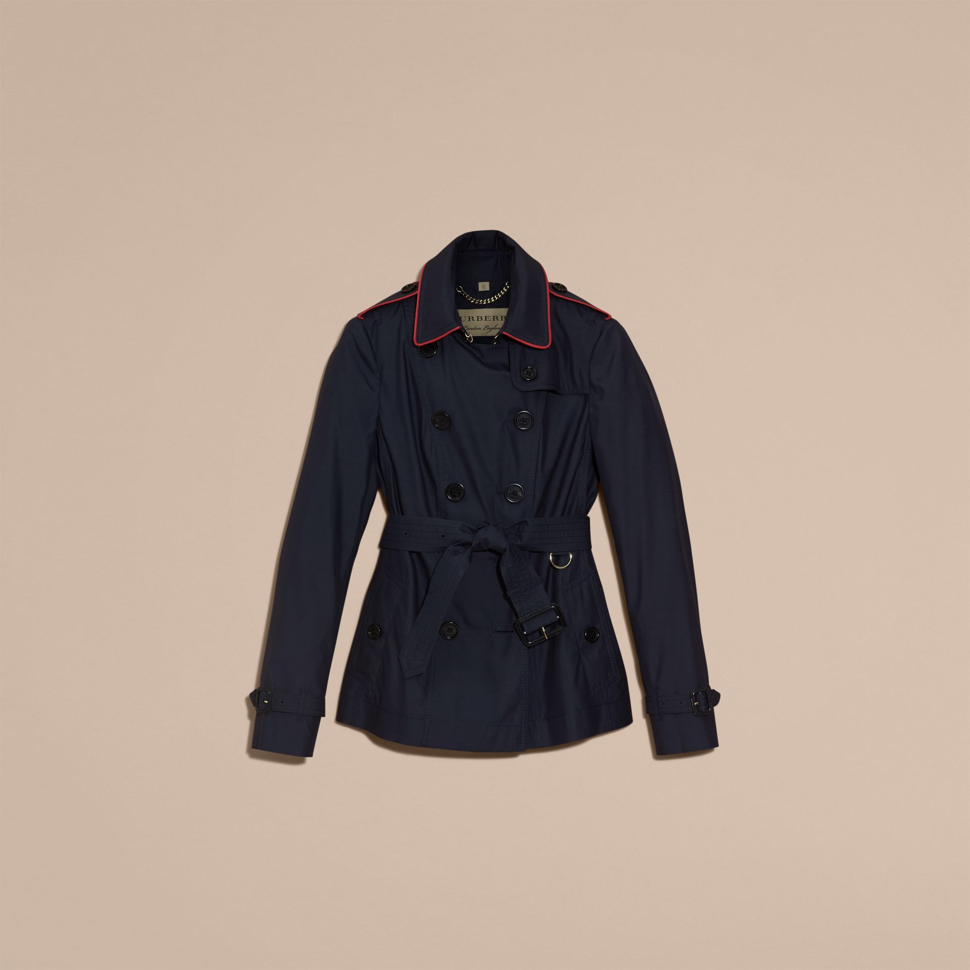 Navy Showerproof Silk Wool Trench Jacket - gallery image 4