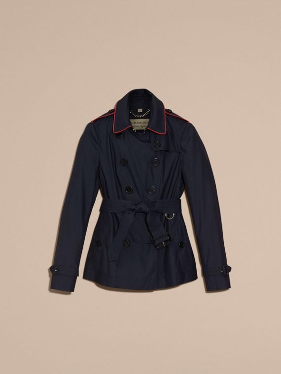 Navy Showerproof Silk Wool Trench Jacket - cell image 3
