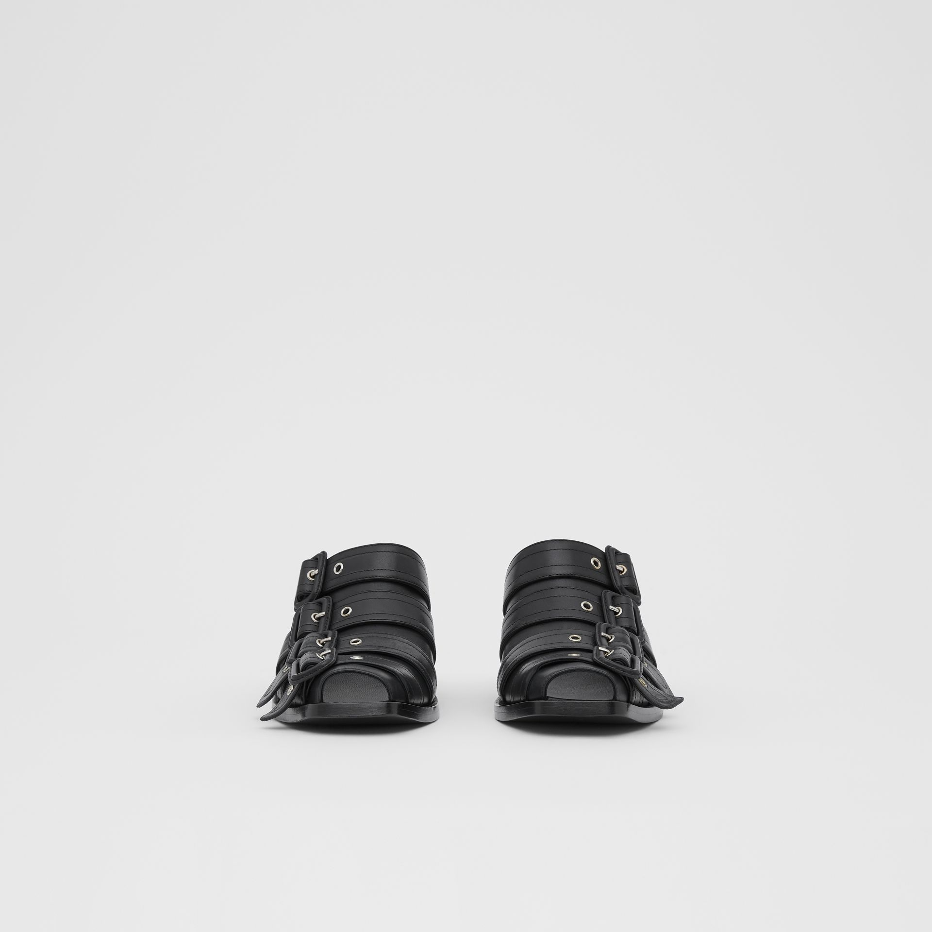 Buckled Leather Peep-toe Mules in Black - Women | Burberry - gallery image 3