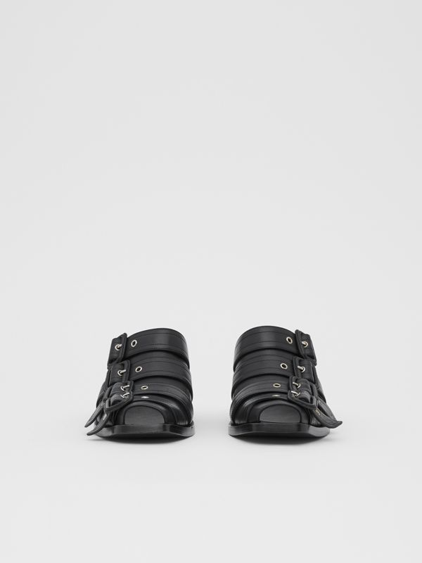 Buckled Leather Peep-toe Mules in Black - Women | Burberry - cell image 3