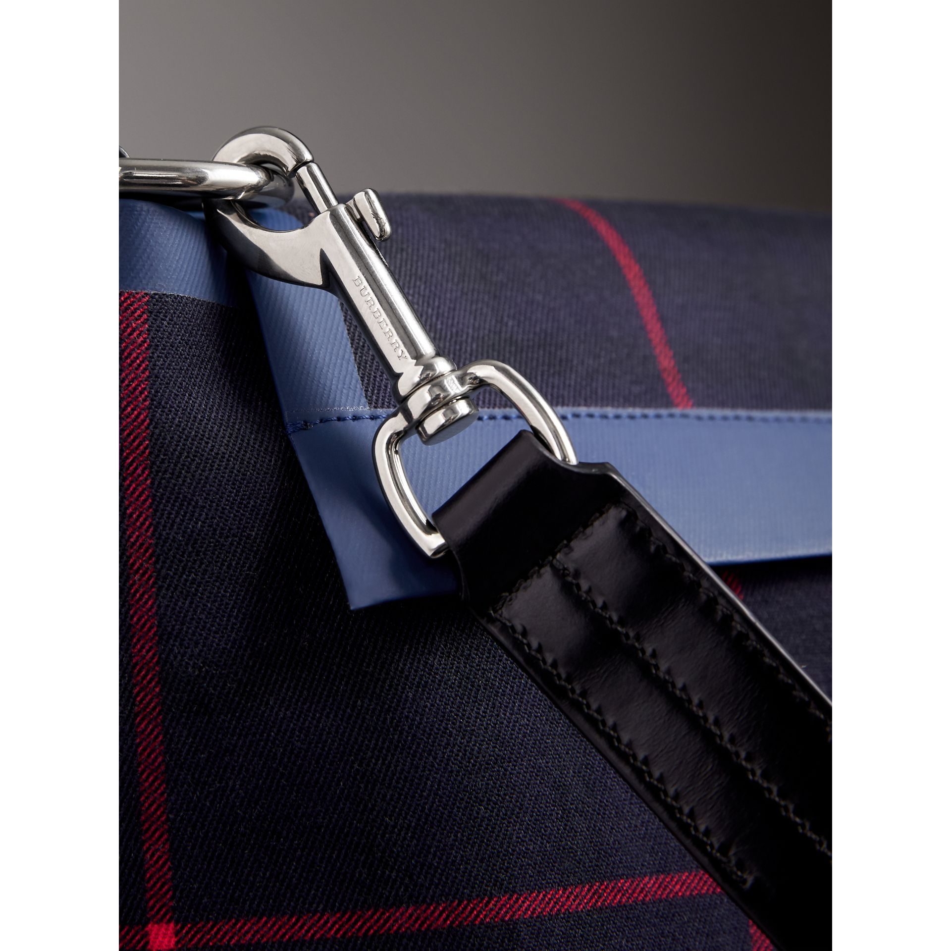 Large Tartan Cotton Messenger Bag in Deep Navy | Burberry Canada - gallery image 1