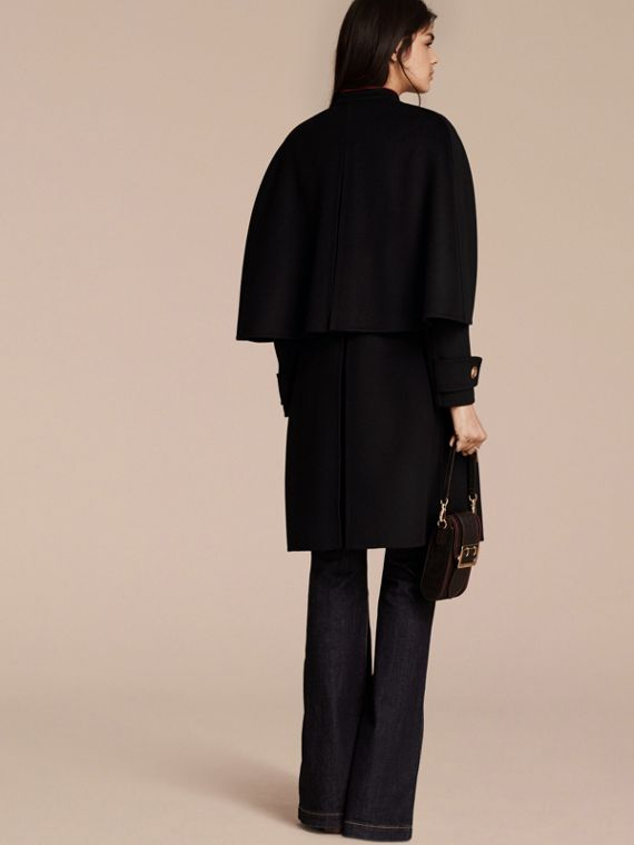 Black Military Detail Wool Cashmere Cape Coat - cell image 2