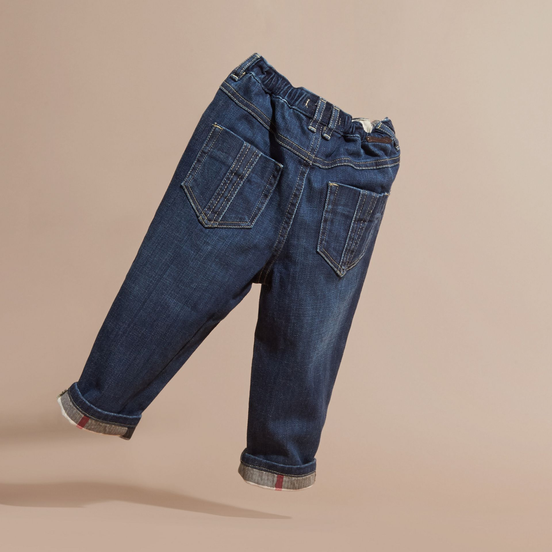 Stretch Jeans with Check Detail - gallery image 4