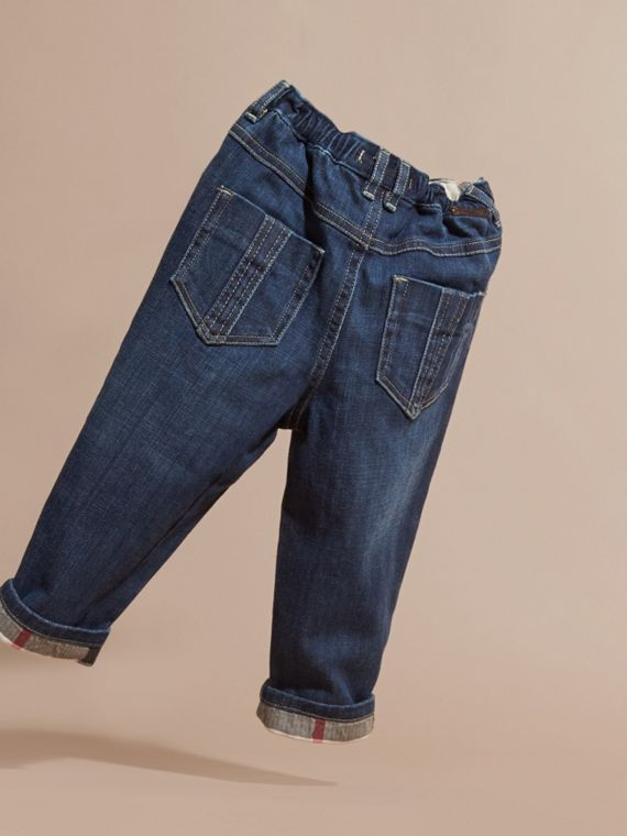 Blue Stretch Jeans with Check Detail - cell image 3