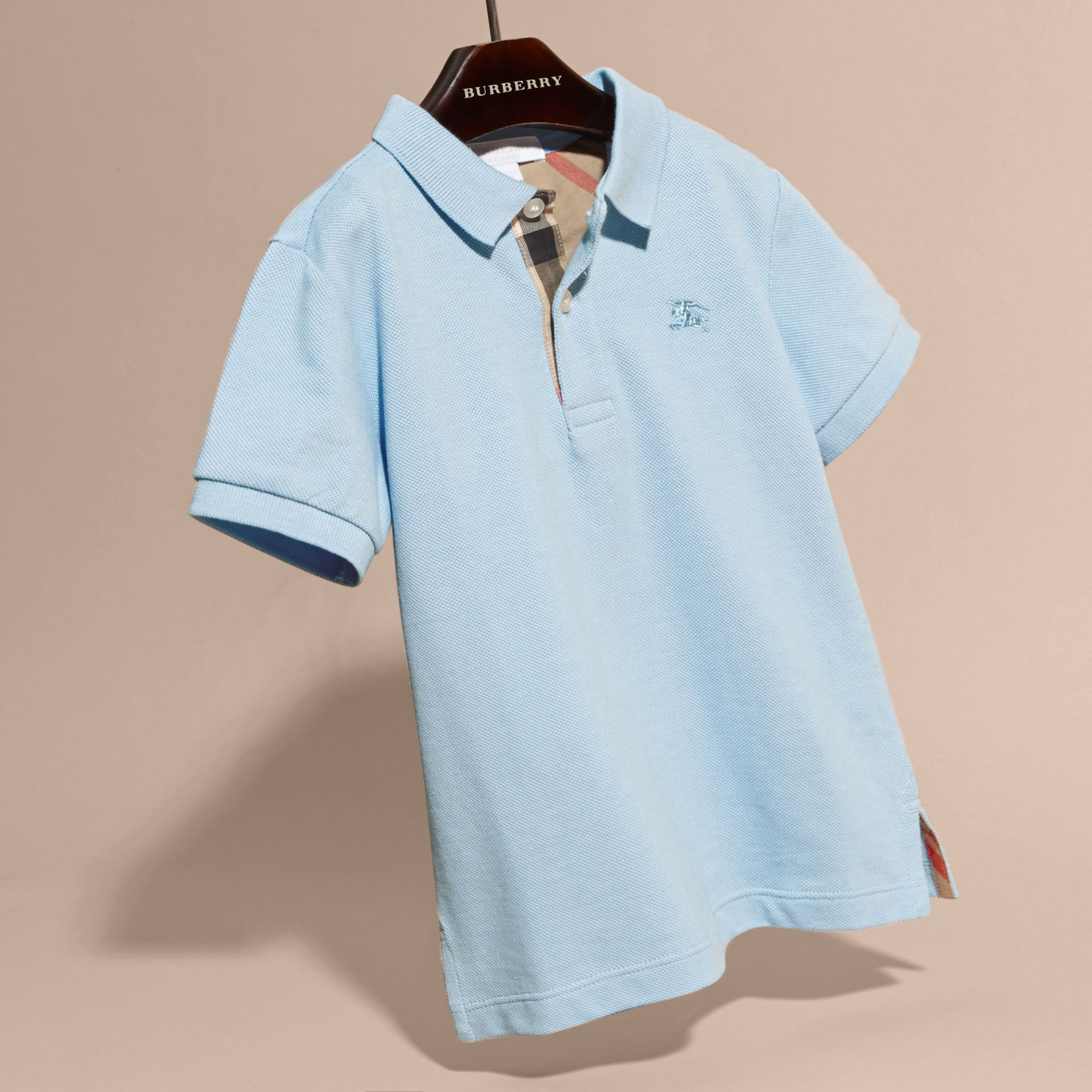 Check Placket Polo Shirt in Light Blue - gallery image 3