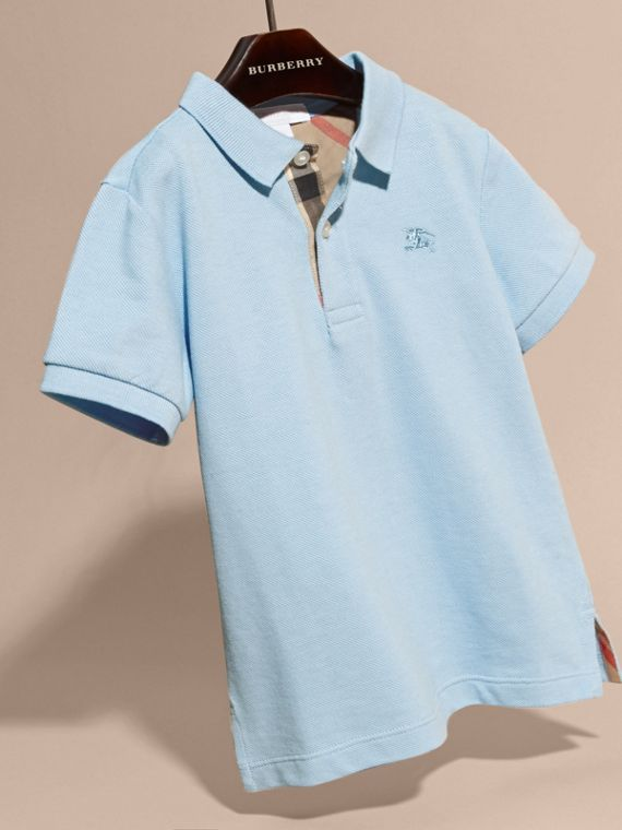 Check Placket Polo Shirt in Light Blue - cell image 2