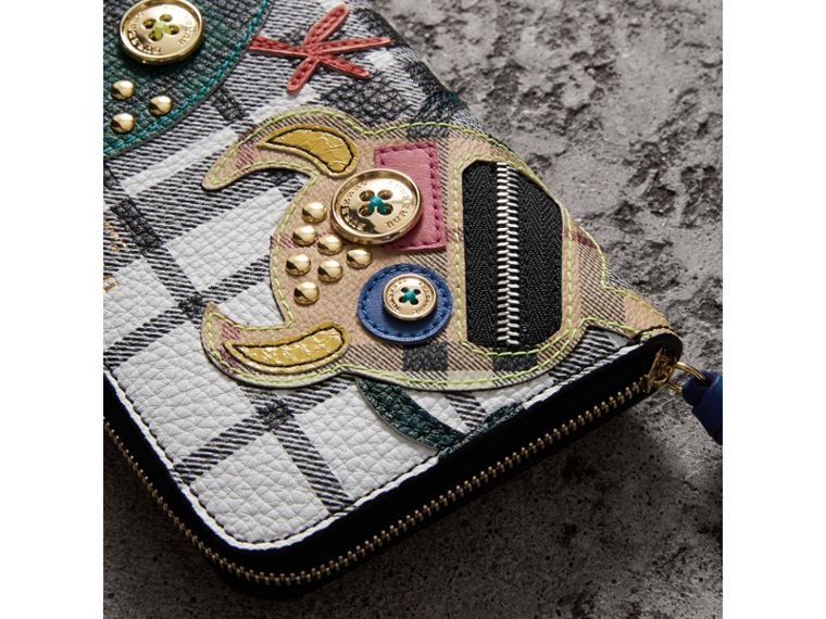Creature Appliqué Check Leather Ziparound Wallet in Black/white - Women | Burberry United Kingdom - cell image 1