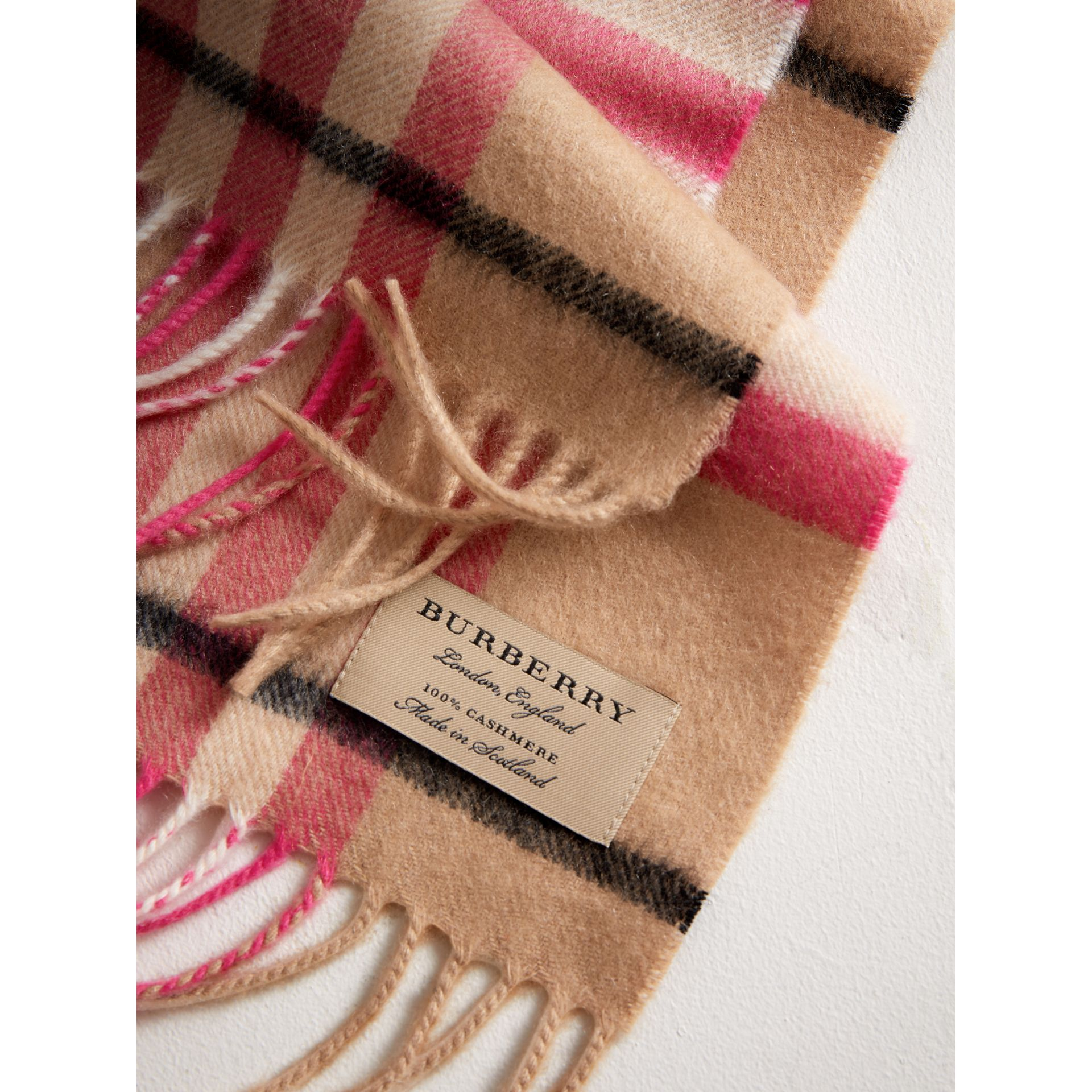 The Mini Classic Check Cashmere Scarf in Bright Peony | Burberry - gallery image 1