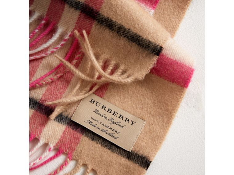 The Mini Classic Check Cashmere Scarf in Bright Peony | Burberry - cell image 1
