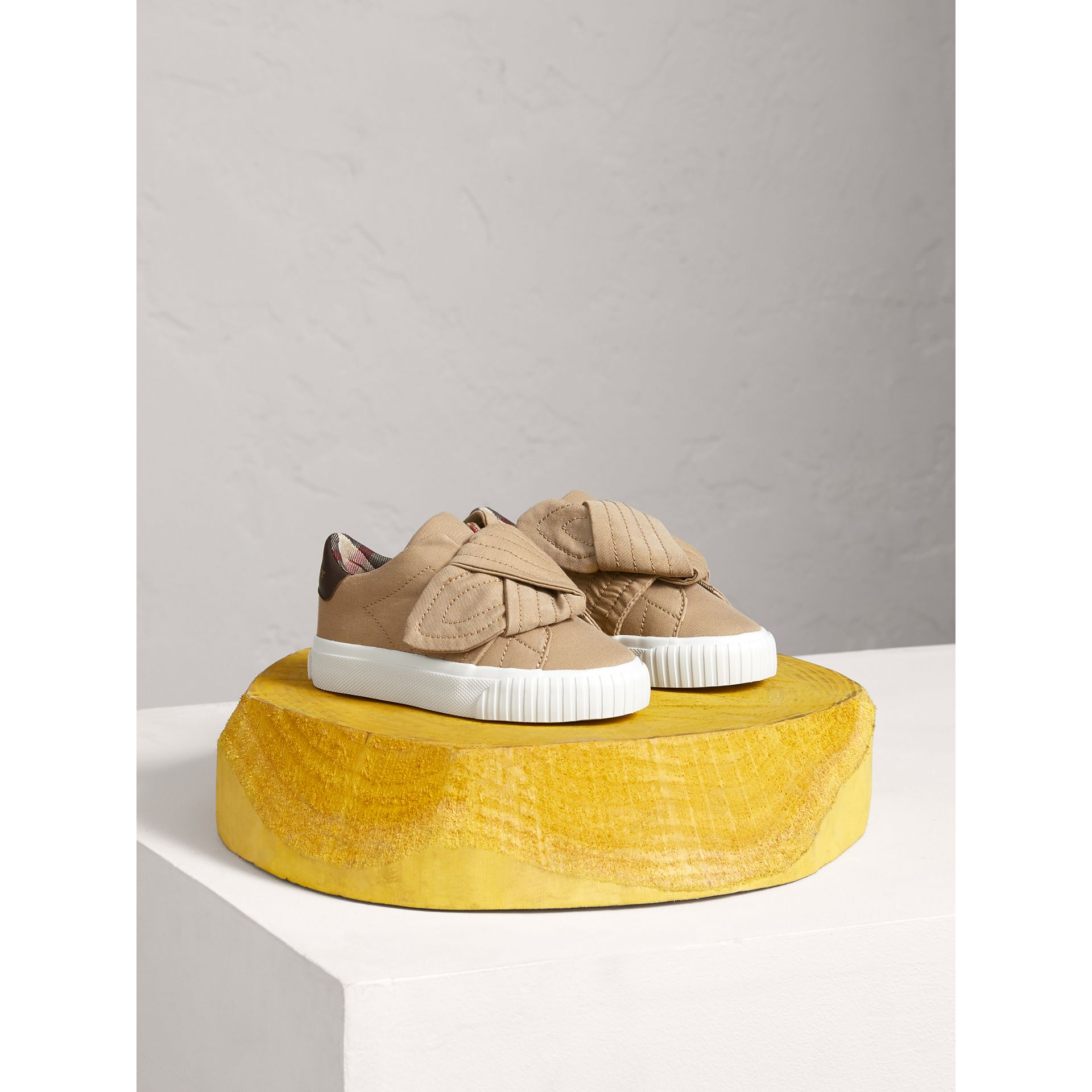 Trench Knot Cotton Gabardine Trainers in Honey | Burberry - gallery image 0