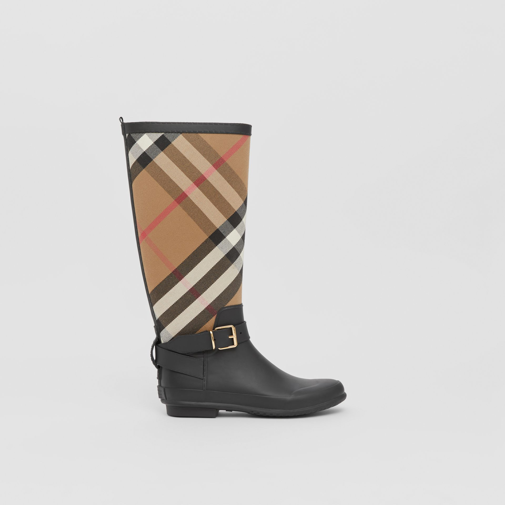 Belt Detail Check and Rubber Rain Boots in House Check/black - Women | Burberry - gallery image 4