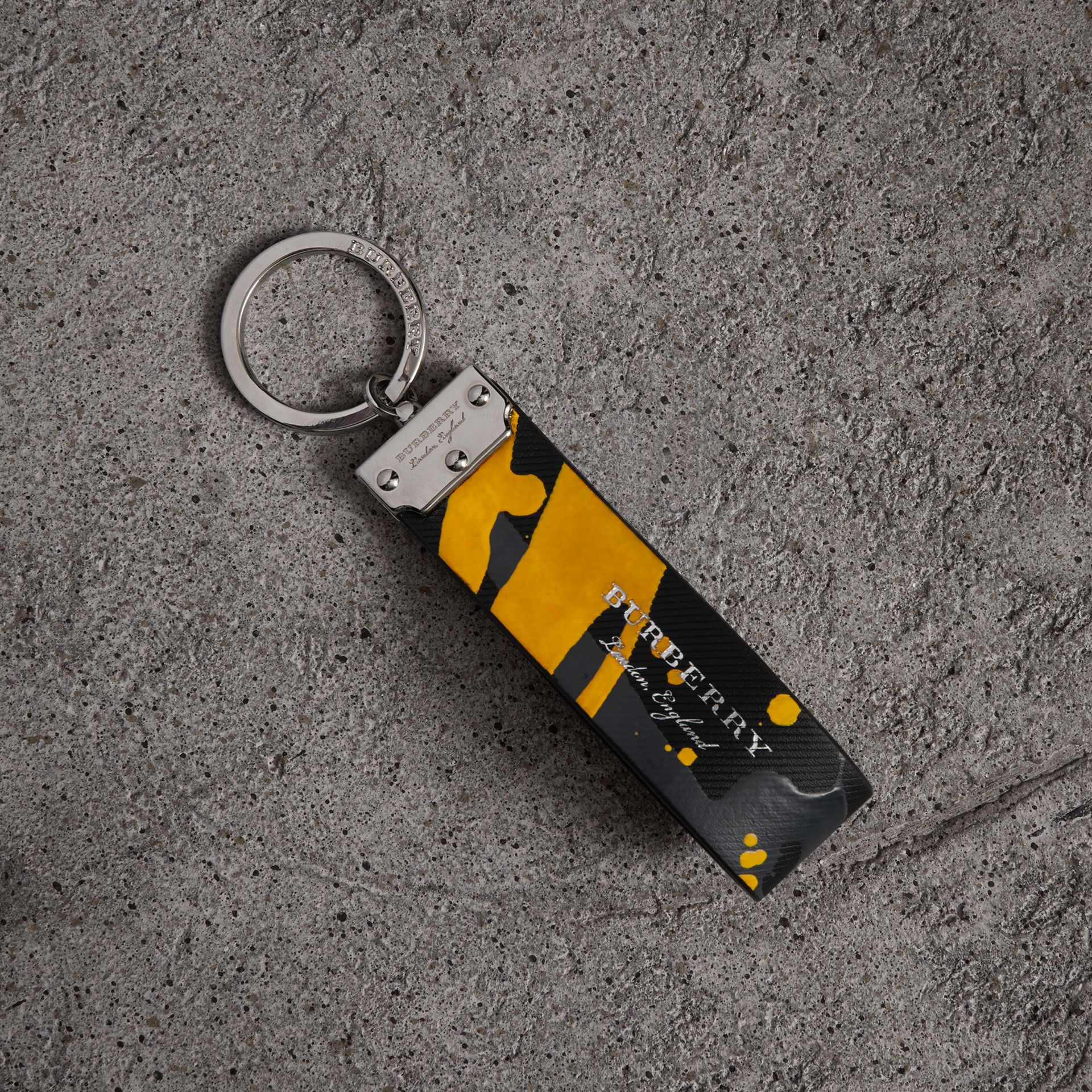 Splash Trench Leather Key Ring in Black/splash | Burberry - gallery image 0