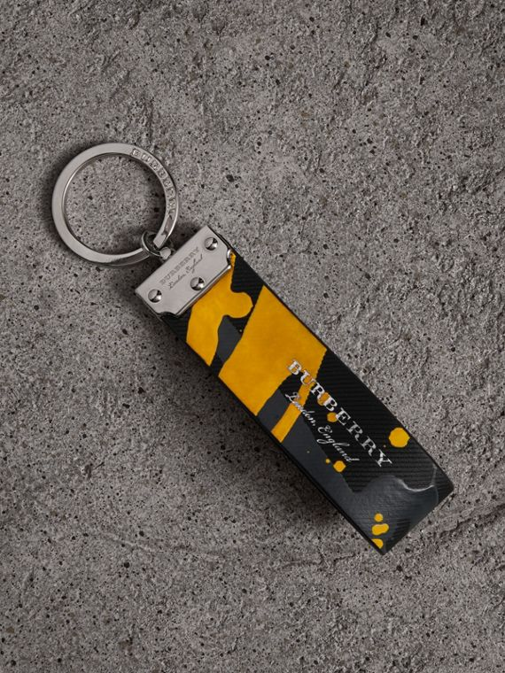 Splash Trench Leather Key Ring in Black/splash