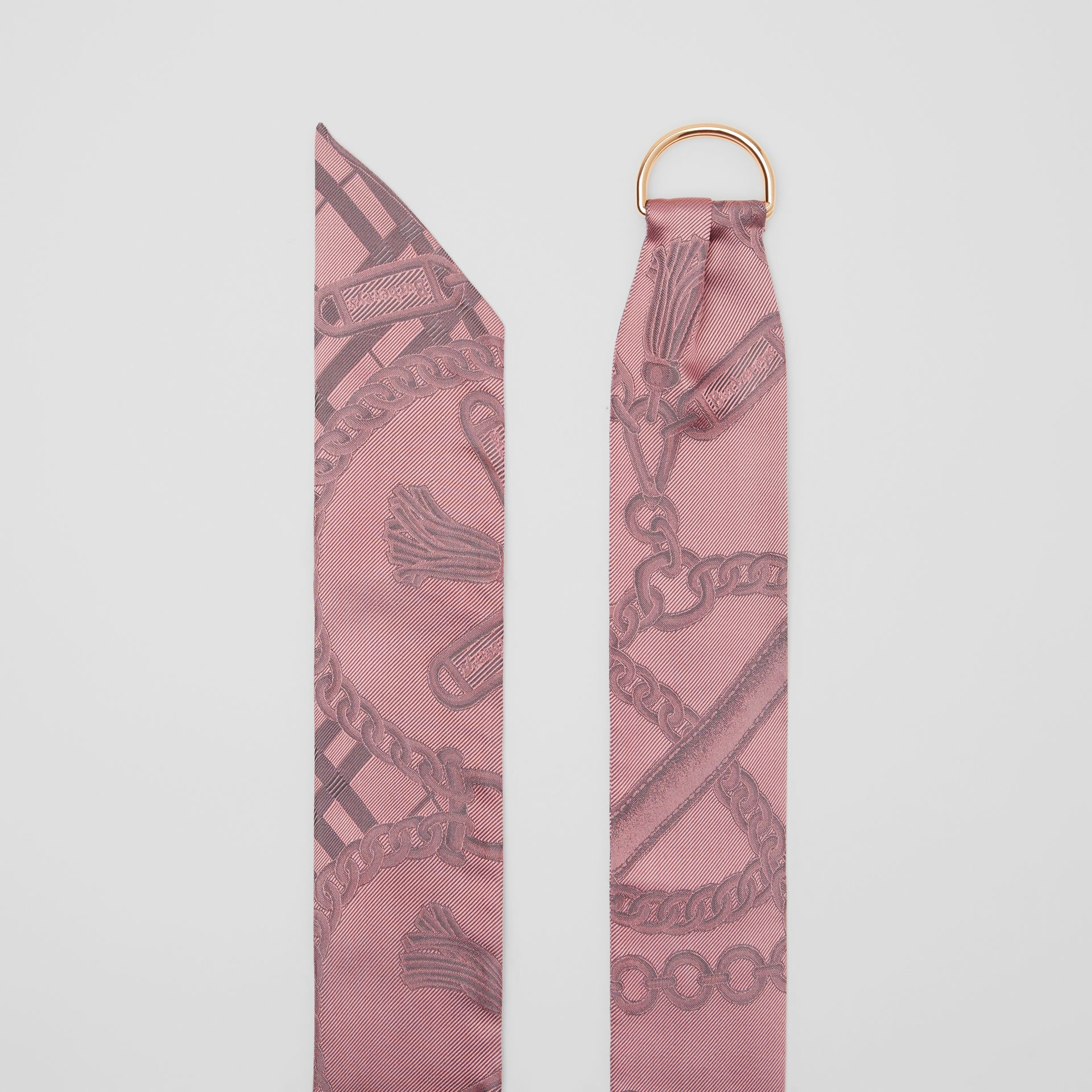 D-ring Detail Chain Silk Jacquard Skinny Scarf in Pale Rose | Burberry - gallery image 4