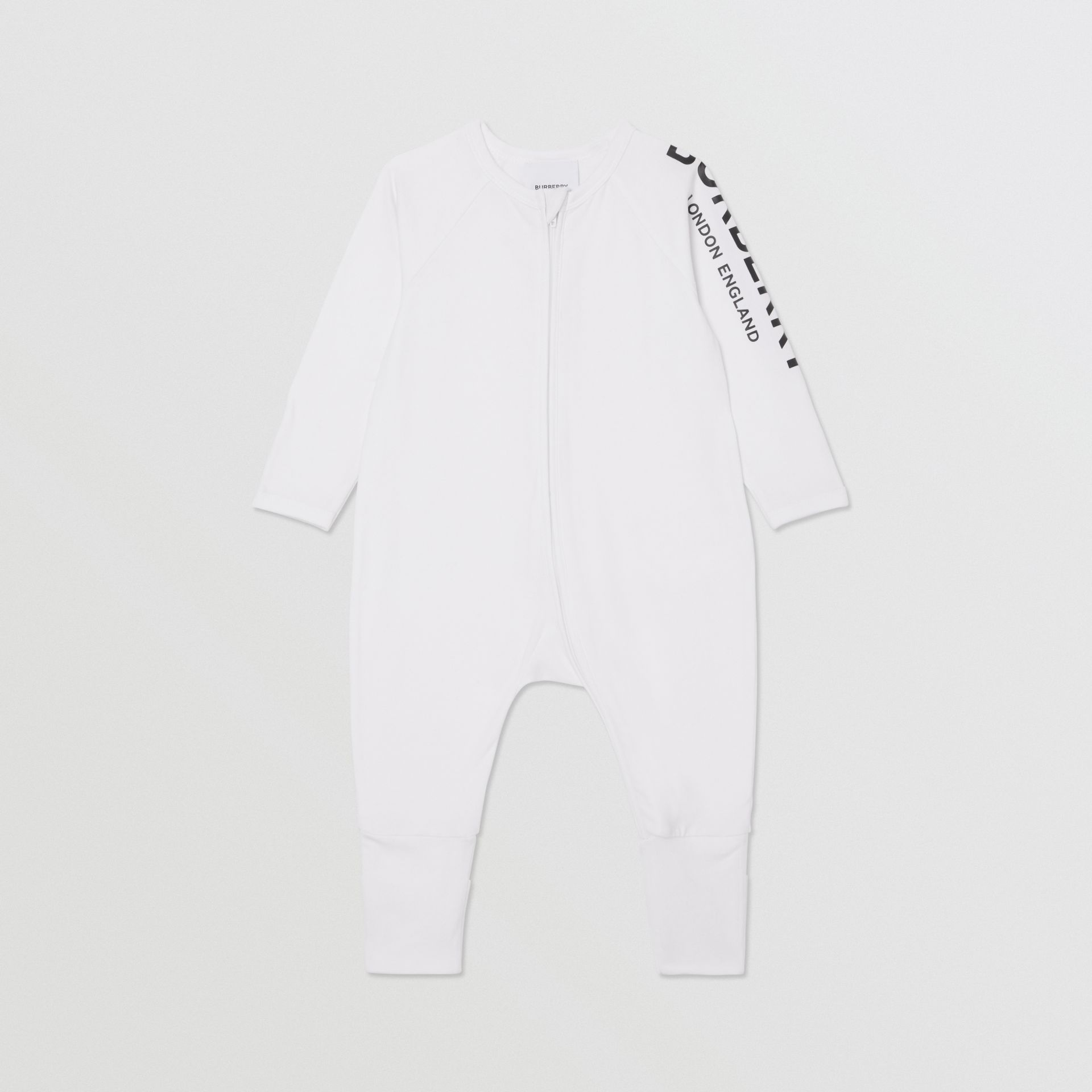 Logo Print Stretch Cotton Two-piece Baby Gift Set in White - Children | Burberry - gallery image 2