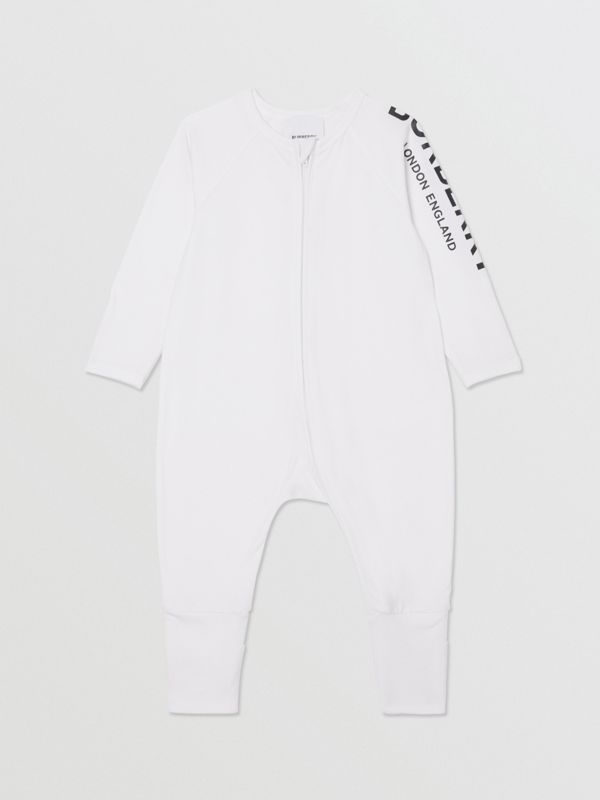 Logo Print Stretch Cotton Two-piece Baby Gift Set in White - Children | Burberry - cell image 2