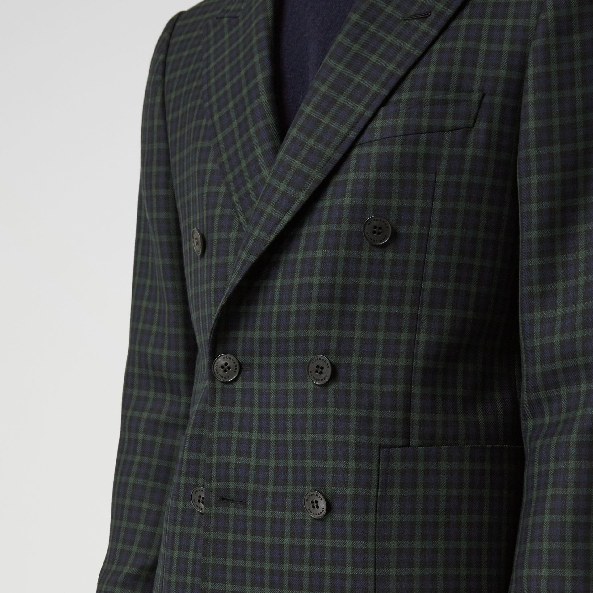 Slim Fit Tartan Wool Tailored Jacket in Navy - Men | Burberry - gallery image 4