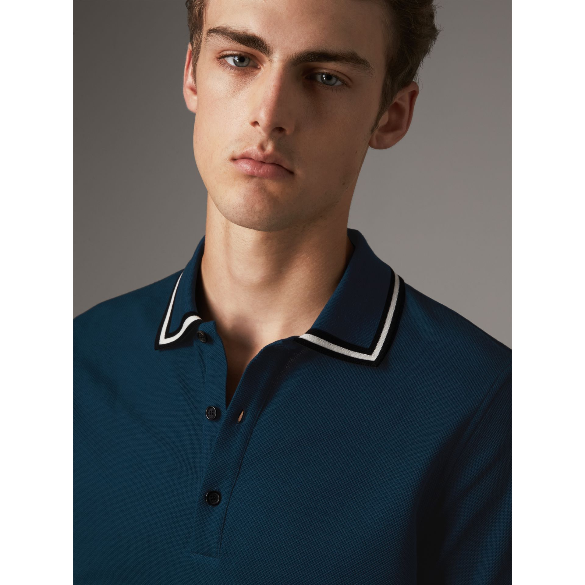 Striped Collar Cotton Piqué Polo Shirt in Canvas Blue - Men | Burberry - gallery image 5