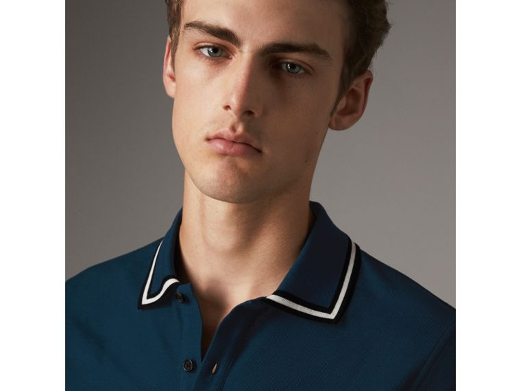 Striped Collar Cotton Piqué Polo Shirt in Canvas Blue - Men | Burberry - cell image 4