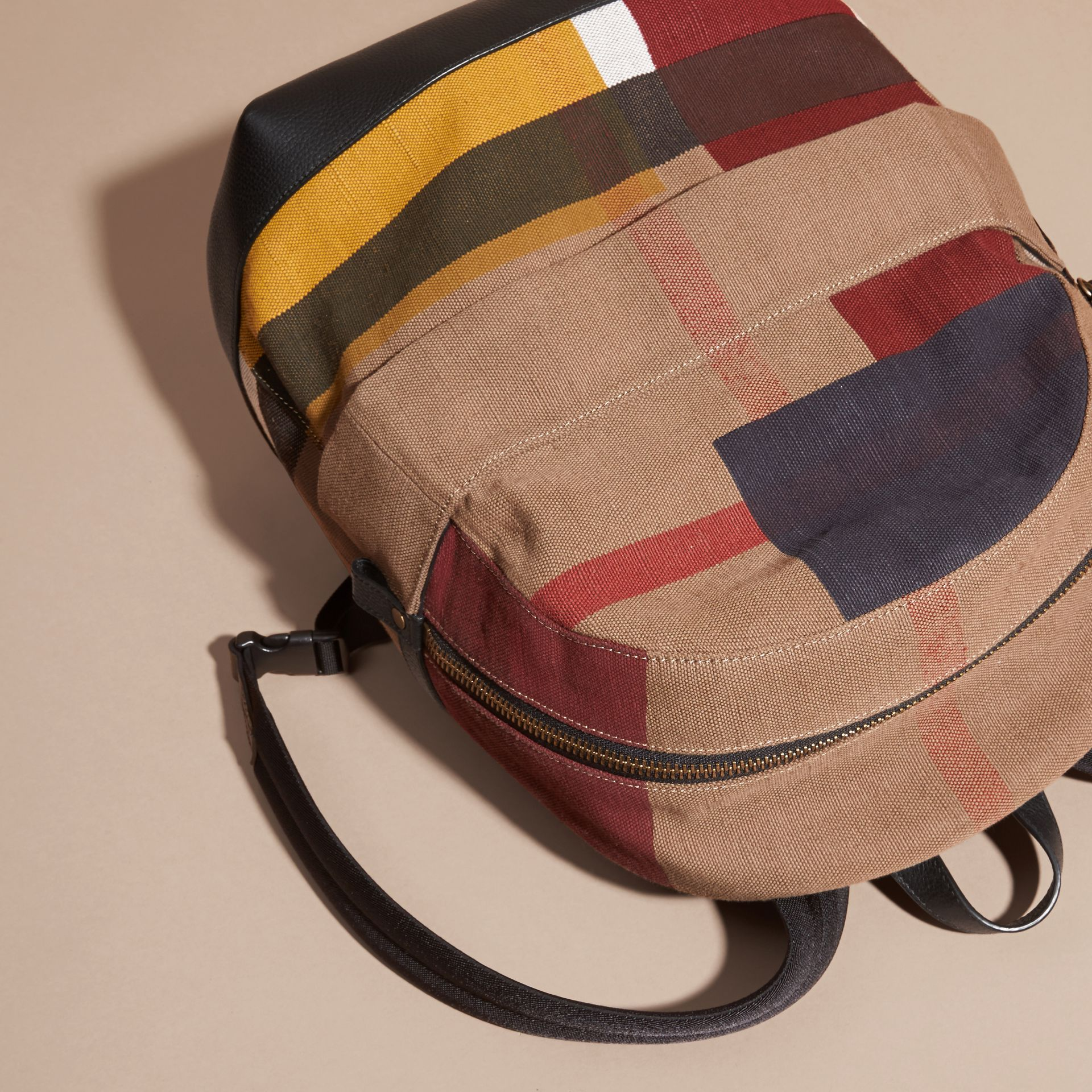 Black Colour Block Canvas Check Backpack - gallery image 3