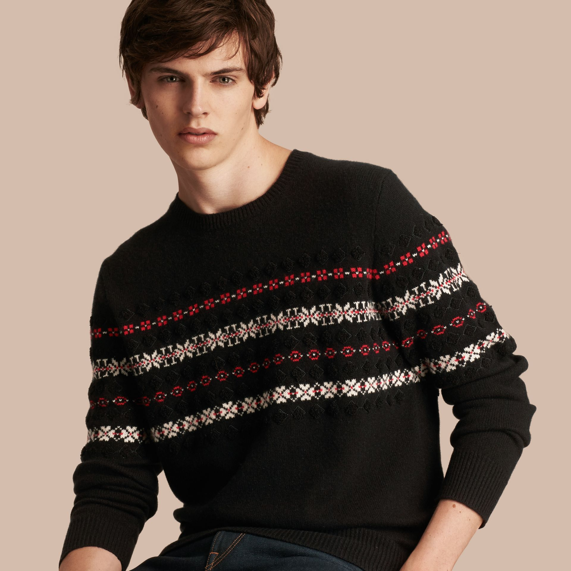 Black Fair Isle Knit Cashmere Wool Sweater - gallery image 1