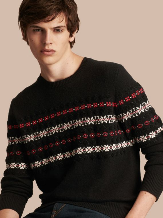 Fair Isle Knit Cashmere Wool Sweater