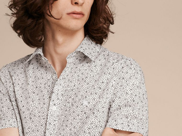 White Short-sleeved Dash Print Cotton Shirt White - cell image 4