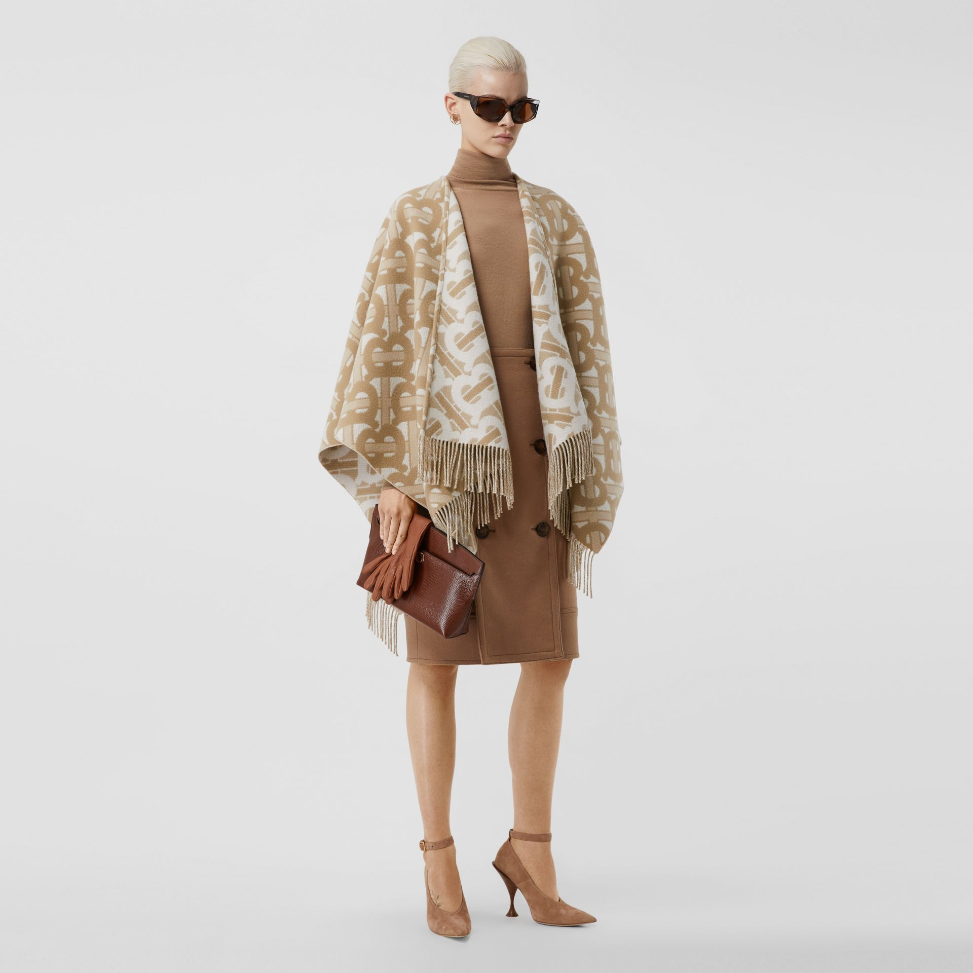 Monogram Merino Wool Cashmere Jacquard Cape in Light Sand - Women | Burberry - gallery image 0