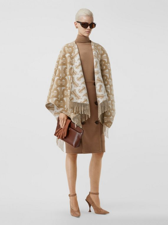 Monogram Merino Wool Cashmere Jacquard Cape in Light Sand