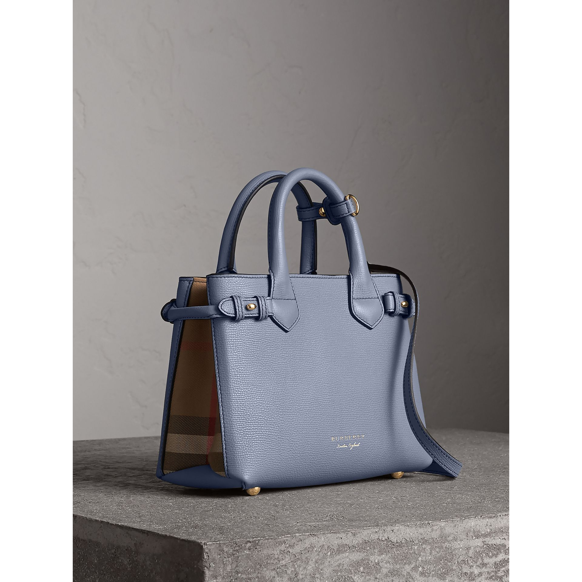 The Small Banner in Leather and House Check in Slate Blue - Women | Burberry - gallery image 0
