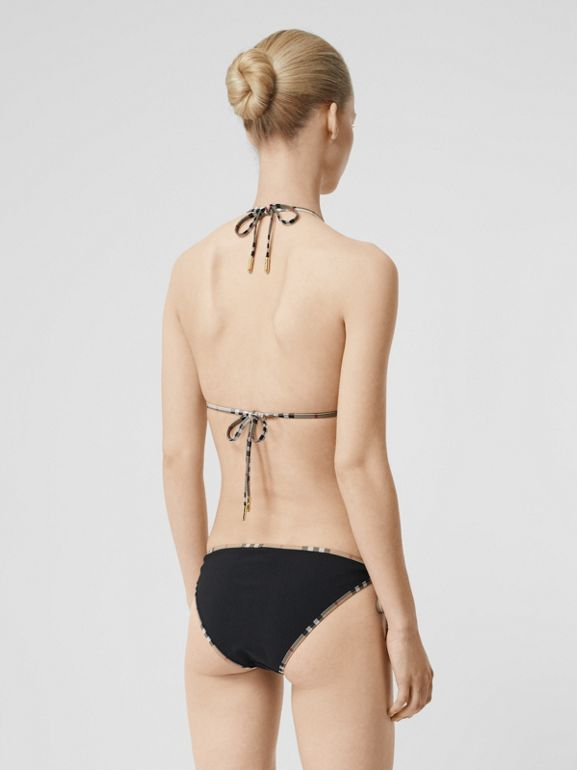 Vintage Check Detail Triangle Bikini in Black - Women | Burberry Hong Kong S.A.R - cell image 1