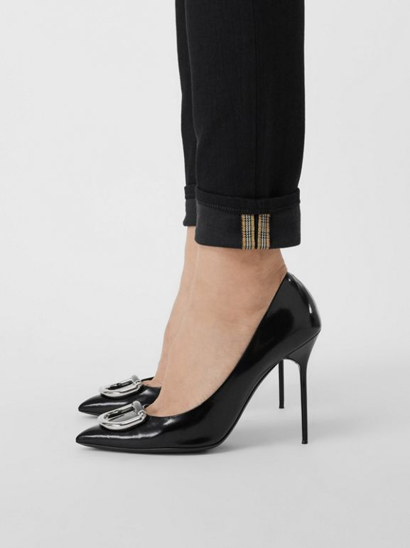 Check Detail Skinny Fit Japanese Denim Jeans in Black - Women | Burberry United Kingdom - cell image 1