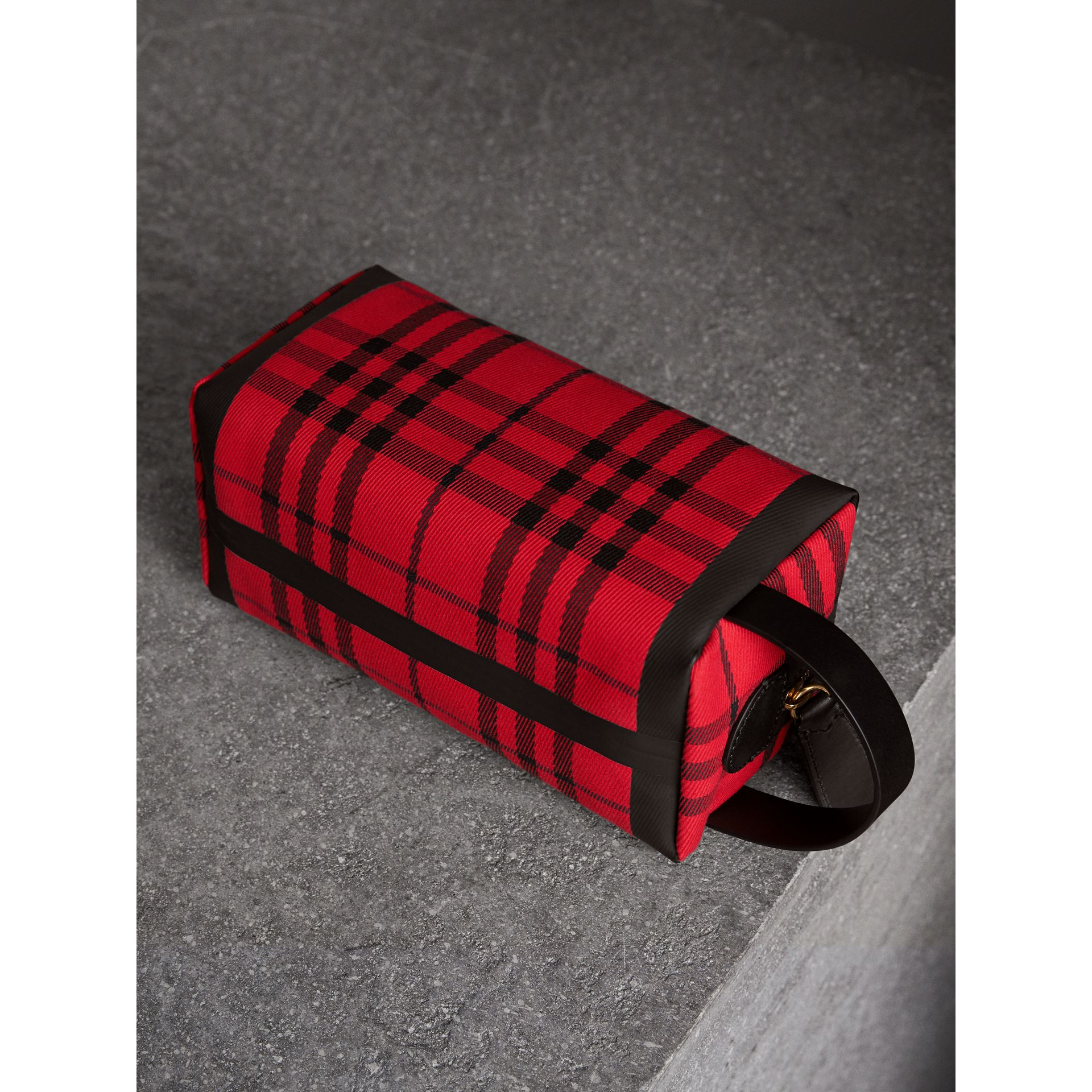 Tartan Cotton Pouch in Military Red | Burberry Australia - gallery image 4