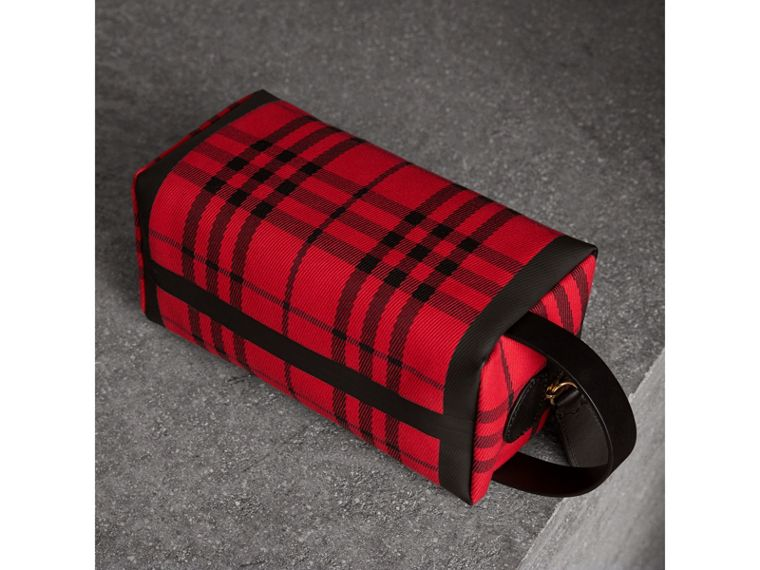 Tartan Cotton Pouch in Military Red | Burberry Singapore - cell image 4